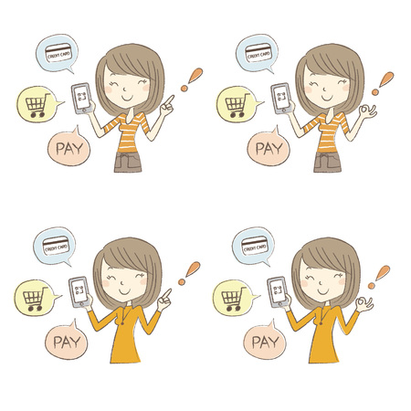 Cashless and Smartphone payment image, a woman holding a smartphone, set of poses