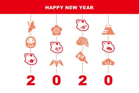 New Year card with mouse dolls and good luck elements