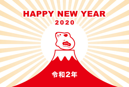 New Year card with mouse, rat doll and fuji mountain for year 2020  translation of Japanese Happy New Year  The 2nd year of Reiwa era