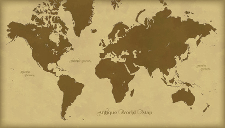 Antique retro world map illustration