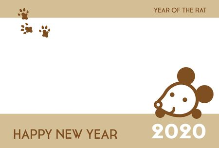 New Year card with cute rat and footprints for year 2020
