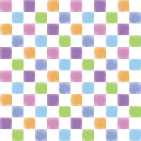 Colorful watercolor checker pattern on white background 写真素材 - 129623088