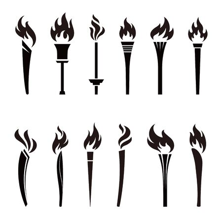 Various torches icon illustration in black and white 写真素材 - 129623094