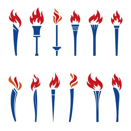 Various torches icon illustration in color  イラスト・ベクター素材