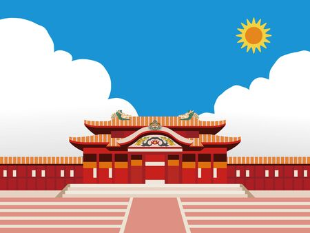 Illustration of castle (Shuri castle) in Okinawa, Japan with blue sky 写真素材 - 129623157