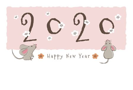 New year card with hand-drawn cute mice and plum flowers for year 2020
