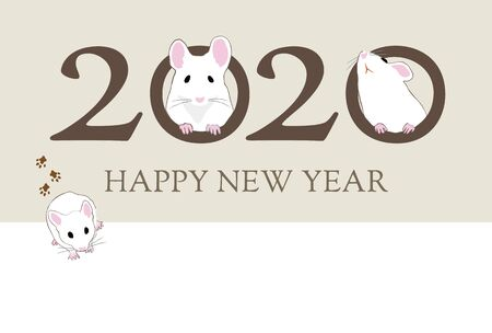 New year card with cute house mice and footprints for year 2020 写真素材 - 131517354