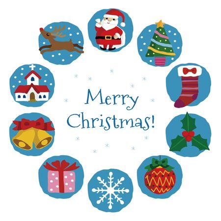 Christmas card with, Santa Claus, Christmas tree, Snowman, reindeer and snowflake, holy, Christmas socks, bell, Christmas ornament and gift  イラスト・ベクター素材