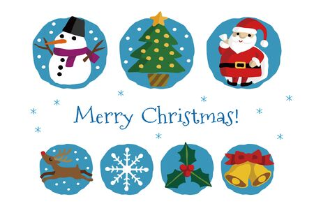 Christmas card with Santa Claus, Christmas tree, Snowman and other elements (reindeer, snowflake, holy, bell)