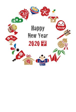 New year card, wreath with Japanese good luck elements for year 2020 写真素材 - 132832283