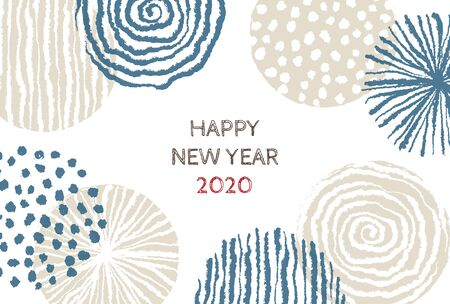 New year card with stylish Scandinavian pattern for year 2020 on white background 写真素材 - 132829230