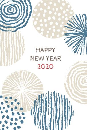 New year card with stylish Scandinavian pattern for year 2020 on white background 写真素材 - 132829177
