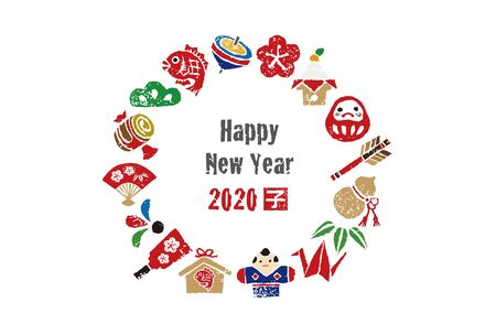 New year card, wreath with Japanese good luck elements for year 2020