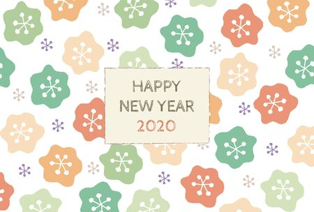 New Year card with colorful floral scandinavian pattern for year 2020 写真素材 - 133450723