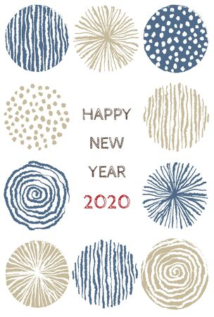 New year card with stylish Scandinavian pattern for year 2020 on white background 写真素材 - 133450725