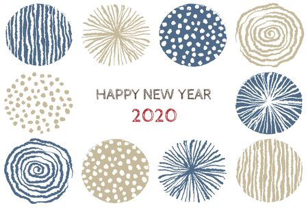 New year card with stylish Scandinavian pattern for year 2020 on white background  イラスト・ベクター素材