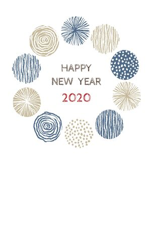 New year card with stylish Scandinavian patterned wreath for year 2020 on white background