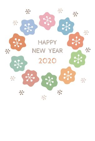New Year card with colorful floral scandinavian wreath for year 2020 on white background