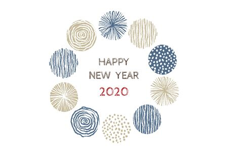 New year card with stylish Scandinavian patterned wreath for year 2020 on white background 写真素材 - 133450732