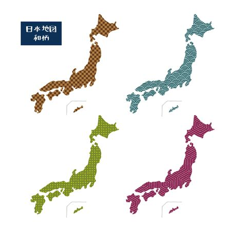 Japan maps with different Japanese patterns / translation of Japanese