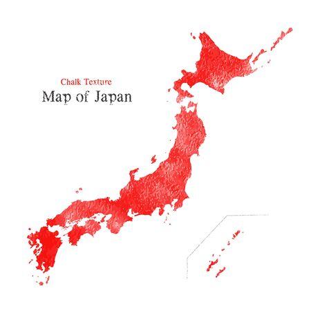 Map of Japan, Chalk texture  イラスト・ベクター素材