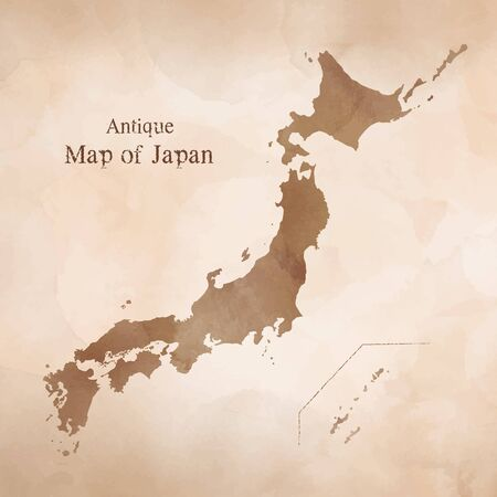 Map of Japan, Antique watercolor texture