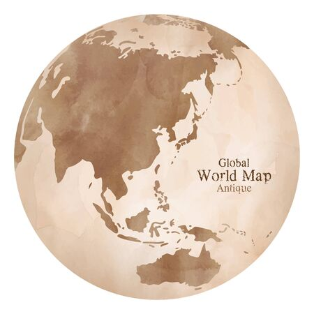 Antique global world map watercolor illustration