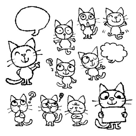 Set of hand-drawn cute cats illustration with various face expressions and poses Illustration