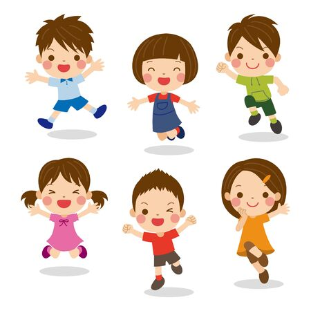 Set of kids with different poses and facial expressions