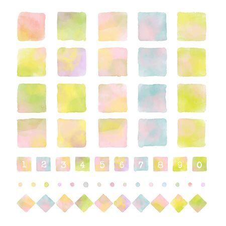 Colorful squares and diamonds with watercolor texture, graphic elements Ilustração