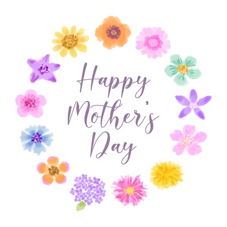 Mother's Day greeting card with colorful floral wreath on white background