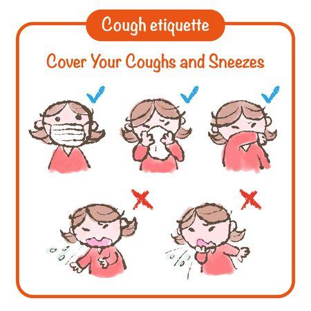 Cough etiquette hand-drawn illustration, prevention of contagious diseases