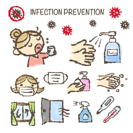 Hand-drawn illustration of Infection Prevention, Gargling and hand washing, take a temperature, ventilation, disinfection