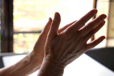 Senior woman, grandma's hands, claping 写真素材