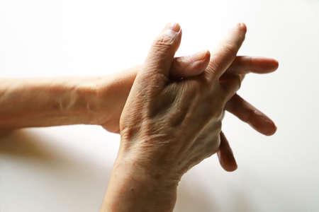 Senior woman, grandma's hand, join hands 스톡 콘텐츠