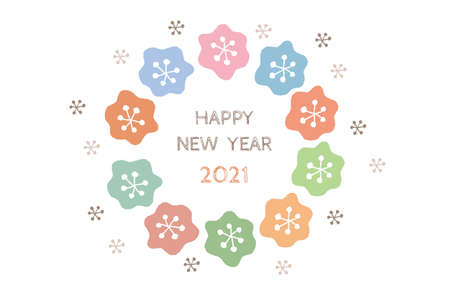 2021 New Year's card of a fashionable Scandinavian flower wreath handwritten in gentle colors