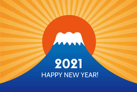 New year card with fuji mountain and sun rise for year 2021 Иллюстрация