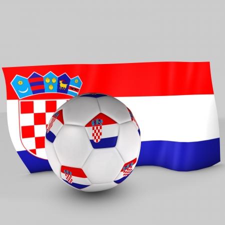bandiera croazia: 3d bandiera Croazia palla Archivio Fotografico