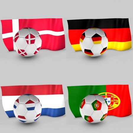 b ball: 3d Group B ball flag Stock Photo