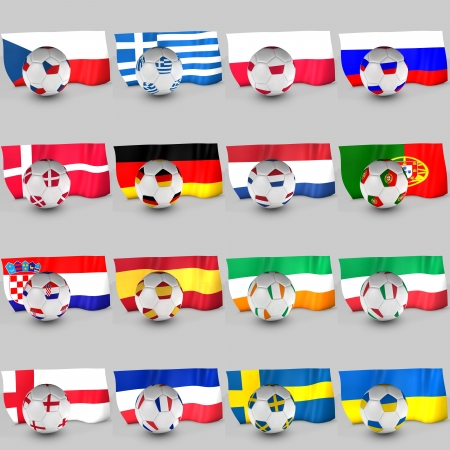 3d Euro 2012 team flag ball photo