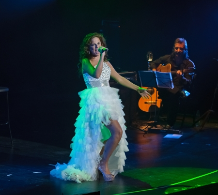CORDOBA, SPAIN OCTOBER 27: Pastora Soler during their concert tour 2012, held at the Gran Teatro de Córdoba on October 27, 2012 in Córdoba Spain Stock Photo - 15986302