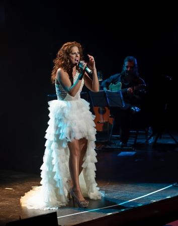 CORDOBA, SPAIN OCTOBER 27: Pastora Soler during their concert tour 2012, held at the Gran Teatro de Córdoba on October 27, 2012 in Córdoba Spain Stock Photo - 15986304