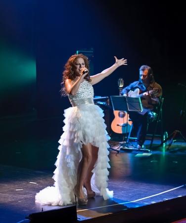 CORDOBA, SPAIN OCTOBER 27: Pastora Soler during their concert tour 2012, held at the Gran Teatro de Córdoba on October 27, 2012 in Córdoba Spain Stock Photo - 15986306
