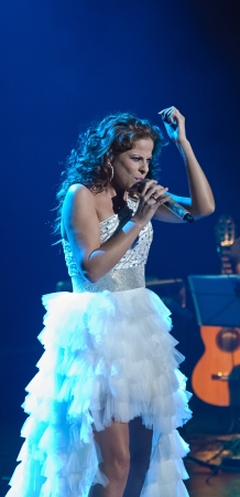 CORDOBA, SPAIN OCTOBER 27: Pastora Soler during their concert tour 2012, held at the Gran Teatro de Córdoba on October 27, 2012 in Córdoba Spain Stock Photo - 15986310