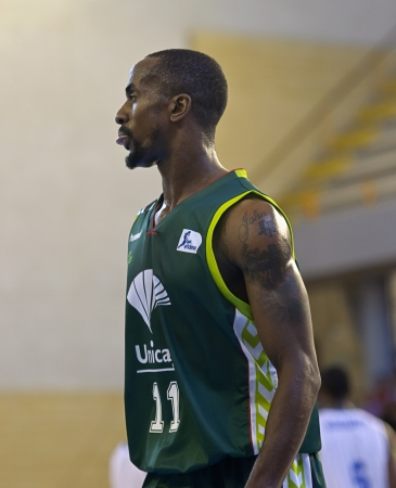 CORDOBA,  SPAIN - SEPTEMBER 9: Earl Calloway (G 11) in action During match, Cup Andalucia 2012, Unicaja (G) vs Cajasol (W) (65-53) at Vistalegre sports hall, on September 9, 2012 in Cordoba Spain