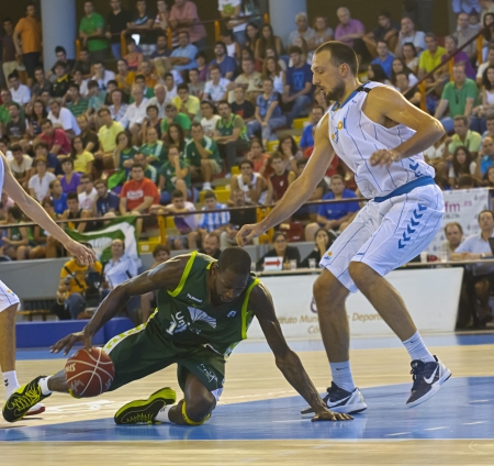 CORDOBA,  SPAIN - SEPTEMBER 9: James Gist (G 15) in action During match, Cup Andalucia 2012, Unicaja (G) vs Cajasol (W) (65-53) at Vistalegre sports hall, on September 9, 2012 in Cordoba Spain