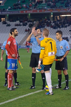 CORDOBA, SPAIN - JANUARY 13:Players  initial alignment during match league Cordoba(W) vs Numancia (R)(1-0) at the Municipal Stadium of the Archangel on January 13, 2013 in Cordoba Spain