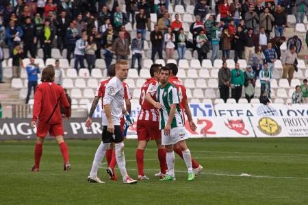 alberto: CORDOBA, SPAIN - MARCH 17: Alberto García W(1) in action  during match league Cordoba(W) vs Almeria (R)(4-1) at the Municipal Stadium of the Archangel on March 17, 2013 in Cordoba Spain
