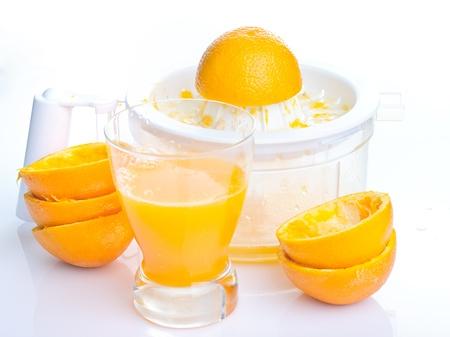 natural orange juice on white background
