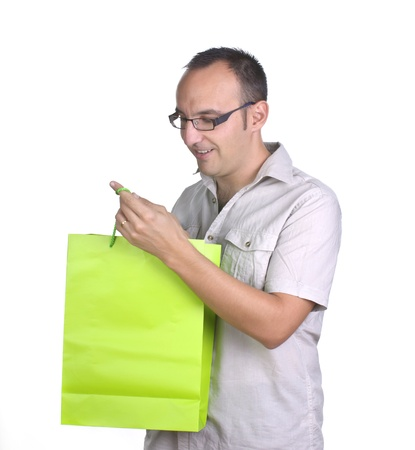 man looking shopping bag on white background